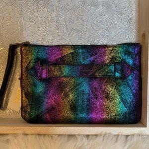 Aimee Kestenberg Metallic Rainbow Wristlet Clutch